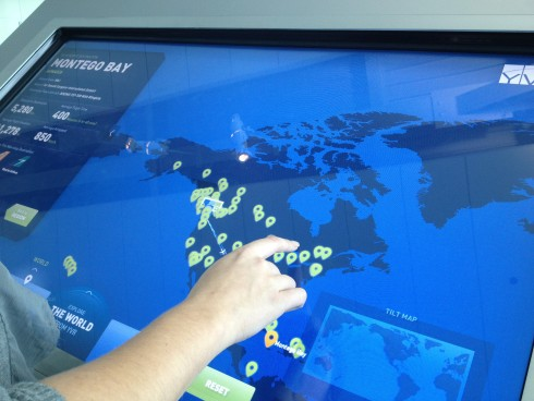 The airport's Observation Area now features a touch-screen kiosk that allows visitors to explore all of YVR's non-stop destinations.