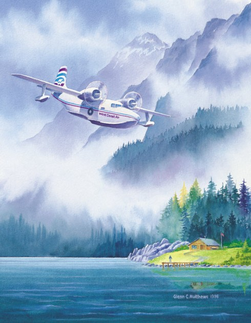 The painting by Glenn Matthews at Airport South, which depicts a Mallard flying boat in West Coast Air livery.