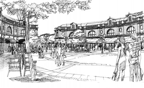 Artist's rendering of the entertainment square for Sea Island's luxury designer outlet.