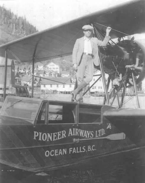 Pilot Bill McCluskey and the Pioneer Airways flying-boat aircraft.