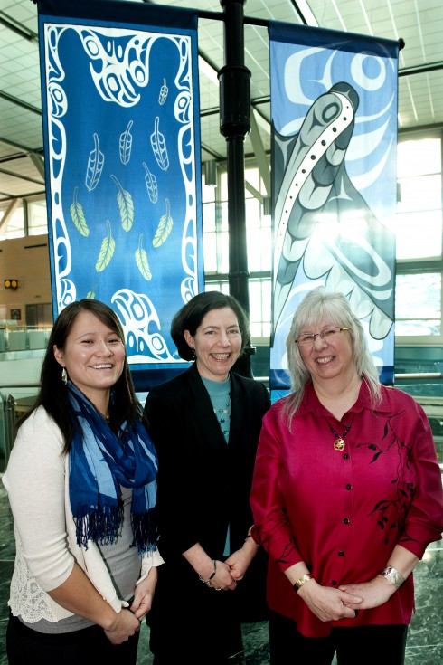 Michelle Stoney (left) from Hazelton and Valerie Malesku (right) from Queen Charlotte City are congratulated by Anne Murray (centre), vice president, community and environmental affairs at Vancouver Airport Authority and chair of the Board of Directors for YVR Art Foundation.