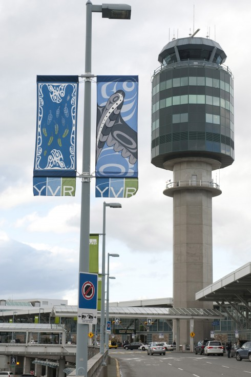 The First Nations street banner designs by Valerie Malesku and Michelle Stoney, which will adorn YVR's roadways.