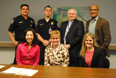 Clockwise from top left: Officer Gonzalez, USCBP; Officer Zumpano, USCBP; Jim Boyle, general manager Hudson Group; Mikel Walker, general manager, HMSHost; Kristen Neal, manager, Absolute Spa; Susan Steine, director of commercial services, Airport Authority; and Freda Cheung, CEO, Canada, World Duty Free.