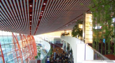 Air China lounge (next to the bamboo, top left) at Terminal 3 of Beijing Capital International Airport, the airline's main hub.
