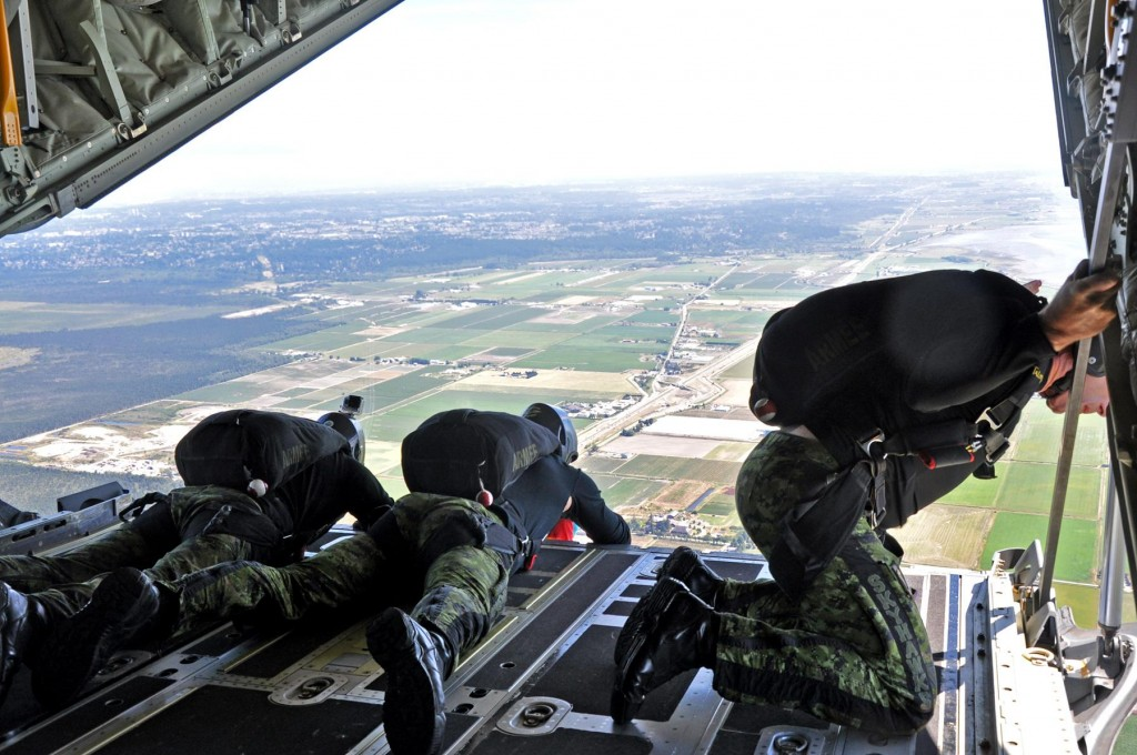 The Skyhawks Canadian Forces Parachute Team perform a wind check. Photo: Jim Jorgenson