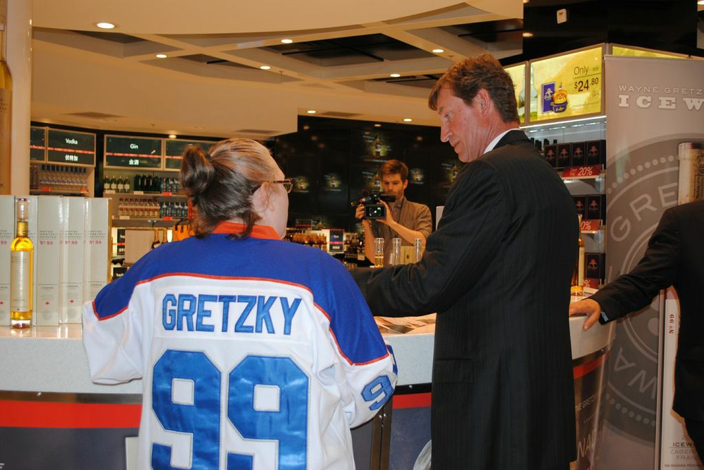 The 'Great One' singed autographs for fans at the YVR World Duty Free ice wine event launch of Wayne Gretzky Estates No. 99 ice wine.