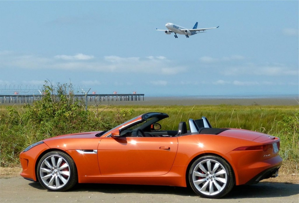 Aircraft usually grab all the attention, but the new Jaguar F-Type proves a worthy adversary. Photo: Tony Whitney