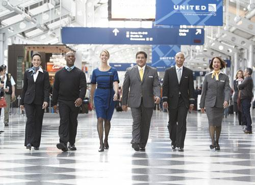 Tens of thousands of United Airlines employees worldwide—including flight attendants, customer service agents and ramp workers—have begun wearing newly designed uniforms. This is the first time members of these work groups will wear similarly styled uniforms. Photo: courtesy United.