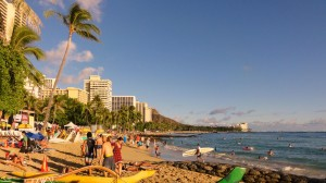 Waikiki Beach on the Hawaiian island of Oahu is one of the best known beaches in the world.