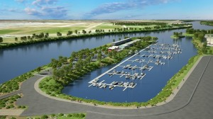 Artist drawing showing the marina moorage and overall development of the once-industrial area across the Fraser River from YVR Northlands.