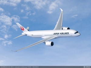 Artist rendering of Airbus A350-900 in Japan Airlines livery. Courtesy Airbus.