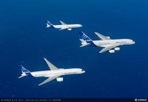 Airbus A330; A350XWB; A380. Photo: courtesy Airbus.