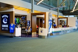 With its Canucks décor and assortment of team merchandise for sale, Vancouver Canucks Sports Bar & Grill, located in the U.S. Terminal after security, provides a true fan experience.