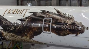 The creation of the bespoke 54-metre-long Smaug dragon on both sides of the Air New Zealand plane was done by director Peter Jackson's visual effects company, Weta Digital.