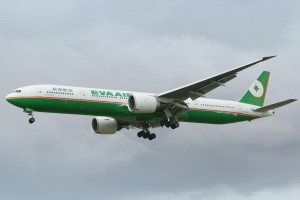 Taiwanese airline EVA Air's long-haul flagship, the Boeing 777-300ER.