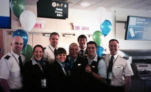 WestJet Encore crew celebrate the inaugural flight from YVR to Northwest Regional Airport – Terrace-Kitimat (YXT) on November 25, 2013.