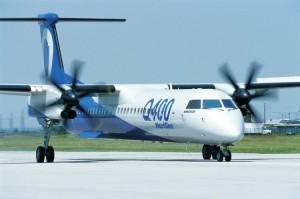 Designed for short-haul rotes, the Bombardier Q400 NextGen aircraft is a fuel-efficient turboprop.