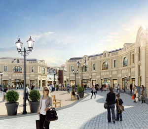 Artist rendering of the Sea Island Luxury Outlet Centre Piazza.