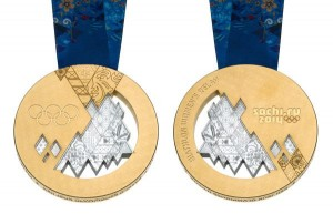 Front and back sides of the 2014 Sochi Winter Games gold medal.
