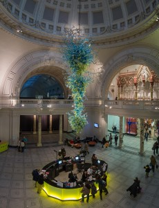 Victoria and Albert Museum—in 2000, an 11-metre high, blown glass chandelier by Seattle artist Dale Chihuly was installed as a focal point in its main entrance rotunda.