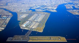 Aerial photo of Haneda Airport, one of the two primary airports that serve Japan's Greater Tokyo area.