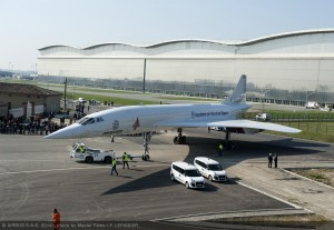 MSN1, one of the first Concorde jetliners built in Toulouse, France is transferred for its permanent display at the Airbus-supported Aeroscopia museum site at Toulouse-Blagnac Airport.