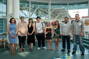 2014 YVR Art Scholarships recipients—(left to right) Charlene Johnny-Wadsworth, Cowichan, West Vancouver; Kelli Clifton, Tsimshian (Gitga'at), Terrace; Raven Pearson LeBlanc, Haida, Vancouver; George Lawson, Gitxan, North Vancouver; Sage Paul, WSANEC, Bentwood Bay; Skill Jaadee White, Haida, Masset; Luke Parnell, Haida/Nisga'a, Vancouver; and London Gunn, Kwakwaka'wakw/Metis (Red River), Marysville.