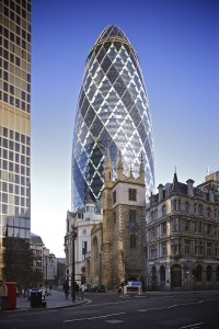 "At 180 metres tallm 30 St. Mary Axe, nicknamed ""The Gherkin"", is the second tallest building in the City of London."