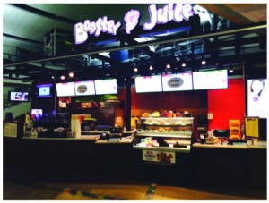 Booster Juice is located before security, Level 3, Domestic Terminal Food Court.