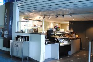 Java U Café is located after security, Gate B20, Domestic Terminal.