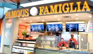 Famous Famiglia Pizzeria is located after security, Gate D67, International Terminal.