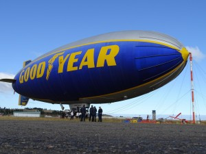 "The ""Spirit of Innovation"" Goodyear Blimp possesses two Pusher engines, each of which delivers 210 horsepower that allow a maximum speed of 80 kilometres per hour."