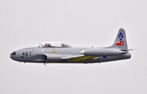 "T-33 Silver Star, a two-engine jet trainer nicknamed the ""T-Bird"", flown by Canadian pilot Tom Rogers."