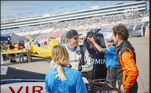 Canadian Pete McLeod (left) talks with Nicolas Ivanoff of France at the eighth stage of the Red Bull Air Race World Championship at Las Vegas Motor Speedway.