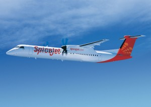 Bombardier Q400 aircraft in SpiceJet livery.